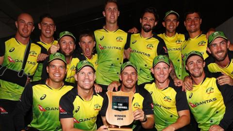 Australia with the Trans-Tasman Tri-Series trophy