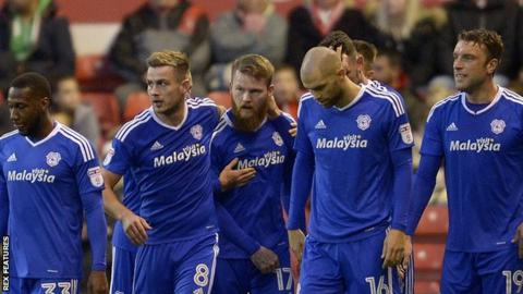 Cardiff City celebrate taking the lead against Nottingham Forest