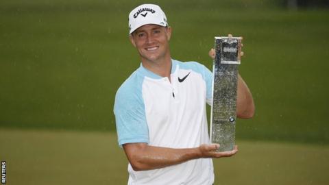Alex Noren celebrates winning the PGA Championship