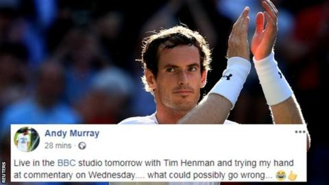 Andy Murray and his Facebook message saying he will be part of the BBC Sport team