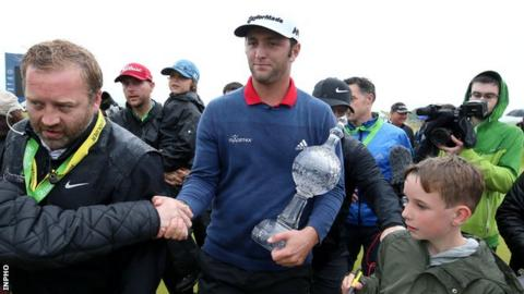 Jon Rahm holds the Irish Open trophy after his 2017 triumph at Portstewart