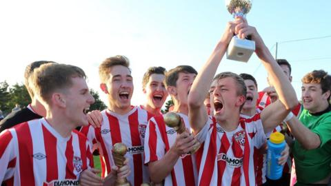 Captain Ciaran Harkin celebrates with his Derry side after their 1-0 win over Finn Harps in the Under-19 final of the Foyle Cup