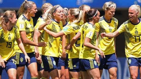 Sweden celebrate their opening goal against Thailand at the 2019 World Cup