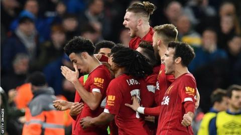 Liverpool players celebrate Curtis Jones' goal