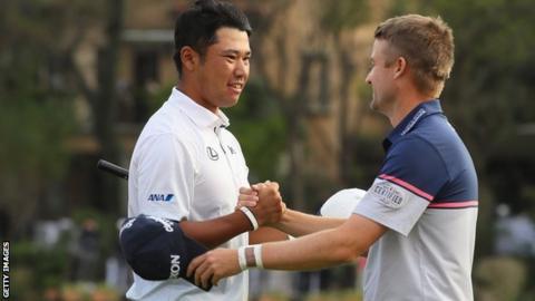 Russell Knox congratulates winner Hideki Matsuyama