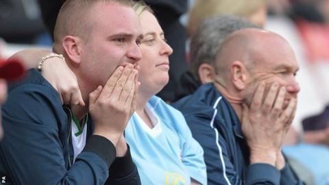 Dejected Sunderland fans