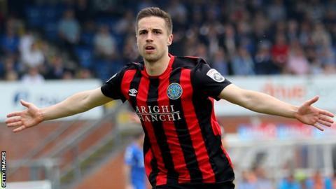 Mitch Hancox celebrates scoring a goal for Macclesfield Town