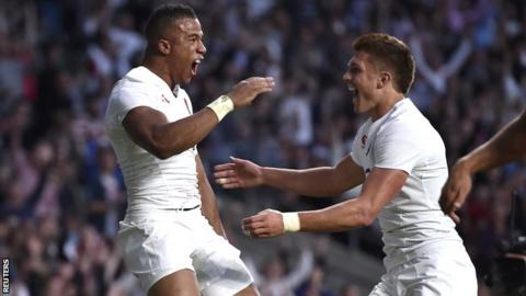 Anthony Watson and Henry Slade celebrate