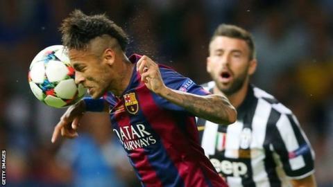 Neymar handling ball