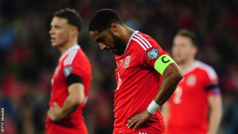 Ashley Williams is downcast after Wales' 1-1 draw with Georgia in Cardiff