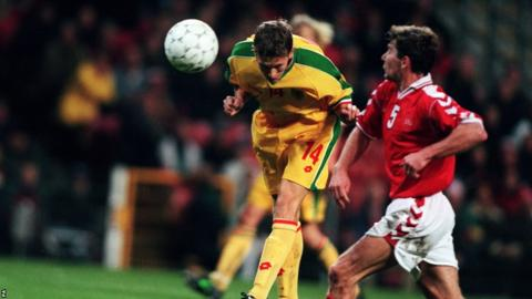 Craig Bellamy heads Wales' winner against Denmark in 1998, a rare highlight during Bobby Gould's controversial and eventful period in charge.