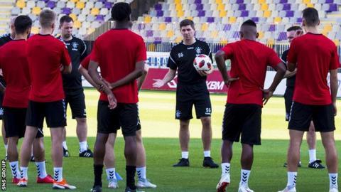 Rangers manager Steven Gerrard oversees a training session at the Ljudski Stadion