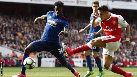 Manchester United defender Axel Tuanzebe in action against then Arsenal striker Alexis Sanchez last season