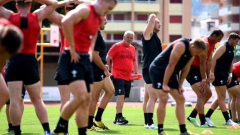Warren Gatland puts his squad through their paces in Fiesch, Switzerland