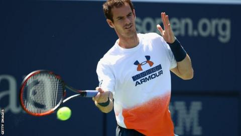 Andy Murray during a practice session prior to pulling out of the US Open in August