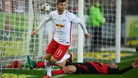 RB Leipzig's Timo Werner celebrates after scoring the second goal against Freiburg