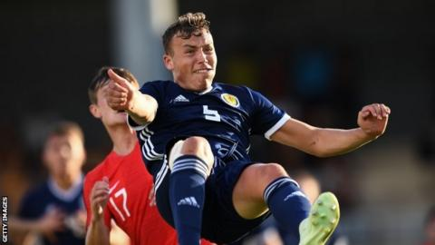 Ryan Porteous in action for Scotland U21s v England at the Toulon Tournament
