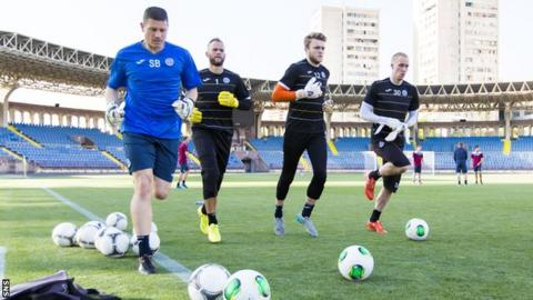 St Johnstone players train at the Vazgen Sargsyan Republican Stadium