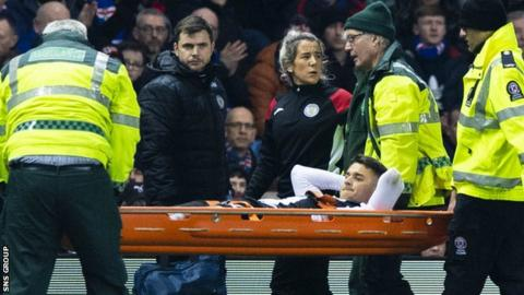 St Mirren midfielder Kyle Magennis was injured early in the loss to Rangers