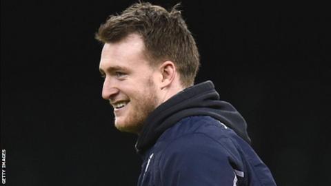 Scotland full-back Stuart Hogg smiles during the captain's run in Cardiff