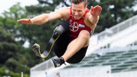 MAEBASHI, JAPAN - JULY 08: Markus Rehm of Germany competes to achieve the new world record of 8m47 in the Men's Long Jump F64 during day two of the Japan Para Championships at Shoda Shoyu Stadium on July 8, 2018 in Maebashi, Gunma, Japan. (Photo by Moto Yoshimura/Getty Images)