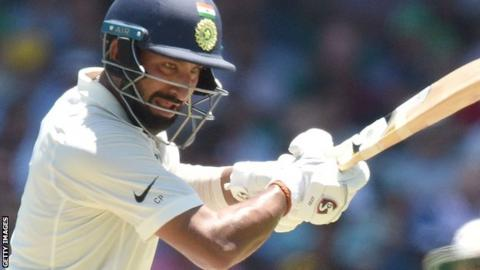 Cheteshwar Pujara in action for India