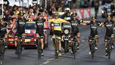 Team Sky celebrate their third Tour de France win in four years