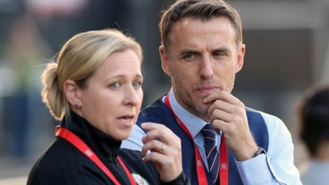 Wales manager Jayne Ludlow and England counterpart Phil Neville
