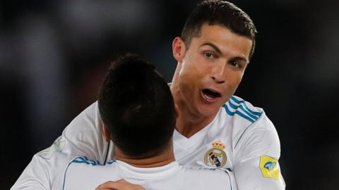 Cristiano Ronaldo celebrates scoring the winner in the Club World Cup final against Gremio