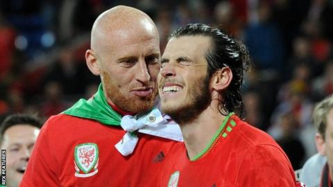 James Collins and Gareth Bale celebrate reaching the 2016 European Championships with Wales