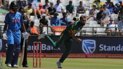 South Africa leg-spinner Imran Tahir bowls during an ODI against India