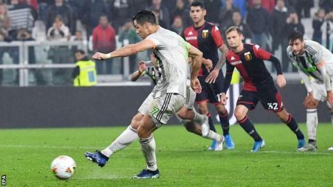 Cristiano Ronaldo scores his late winner for Juventus