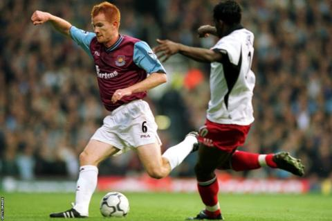 Hayden Foxe of West Ham during a 2001 fixture with Fulham