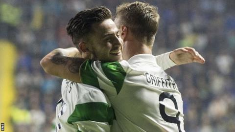 Celtic's Patrick Roberts and Leigh Griffiths embrace