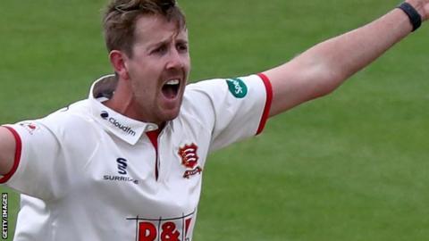 Matt Quinn appeals for a wicket