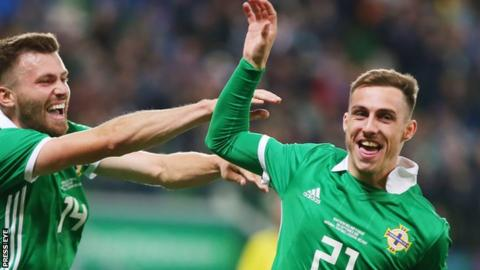 Gavin Whyte celebrates scoring on his Northern Ireland debut against Israel in September