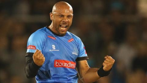 Tymal Mills celebrates taking a wicket for Sussex Sharks