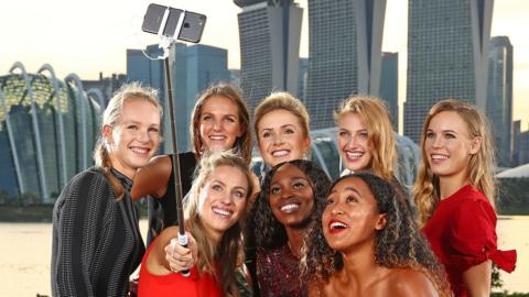 The eight finalists posed for a selfie before the draw was made in Singapore on Friday