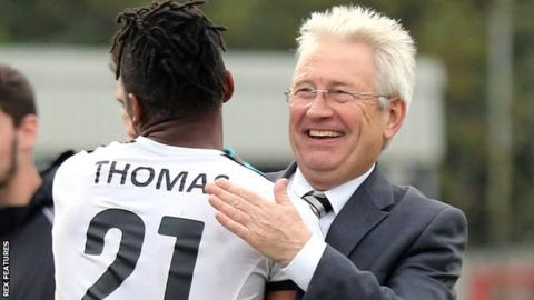 Aswad Thomas and Dover boss Chris Kinnear