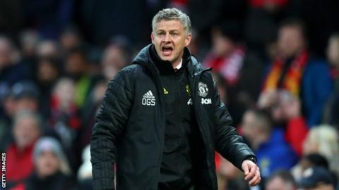Manchester United manager Ole Gunnar Solskjaer shouts from the touchline during a Premier League game