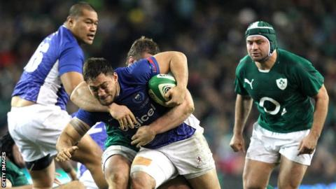 Rugby Samoa's Jack Lam attempts a run against Ireland at the Aviva Stadium in 2013