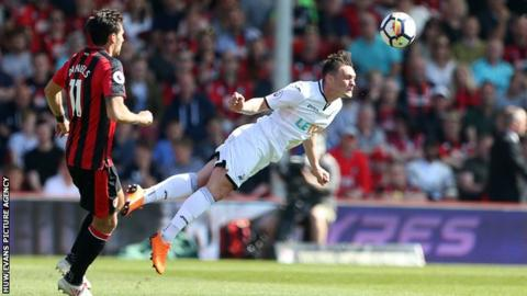 Connor Roberts of Swansea headers the ball