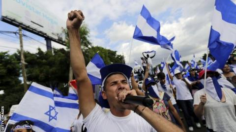 A man leads an anti-government protest in Nicaragua