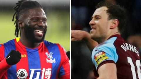 Crystal Palace's Bakary Sako and Burnley's Ashley Barnes