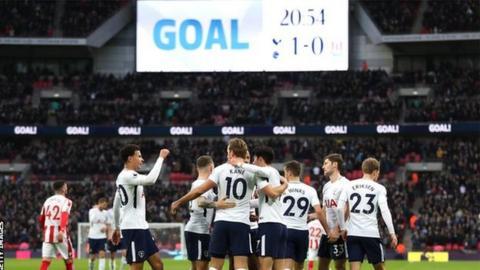 Tottenham celebrate scoring against Stoke