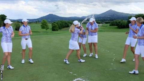 GB & Ireland celebrate their Curtis Cup victory