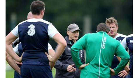 Ireland coach Joe Schmidt delivers instructions at an Ireland training session