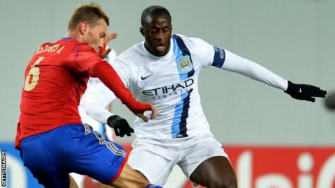 Yaya Toure in action for Manchester City against CSKA Moscow in 2013 when he was subject of racial chants