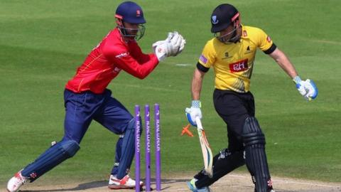 Sussex batsman Ed Joyce had to survive an attempted stumping by Essex keeper James Foster on his way to making 73
