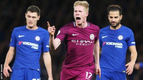 Kevin de Bruyne celebrates scoring for Manchester City at Chelsea last season